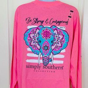 Simply Southern Long Sleeve Tee Shirt SZ L Pink